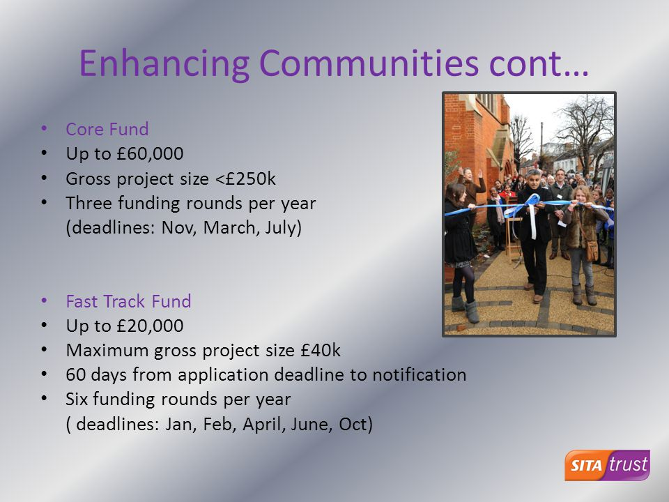 Enhancing Communities cont… Core Fund Up to £60,000 Gross project size <£250k Three funding rounds per year (deadlines: Nov, March, July) Fast Track F