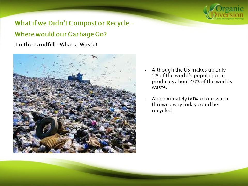 What if we Didn't Compost or Recycle – Where would our Garbage Go.