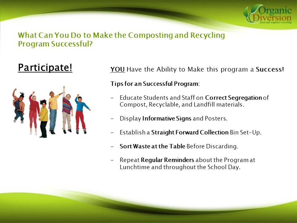 What Can You Do to Make the Composting and Recycling Program Successful.