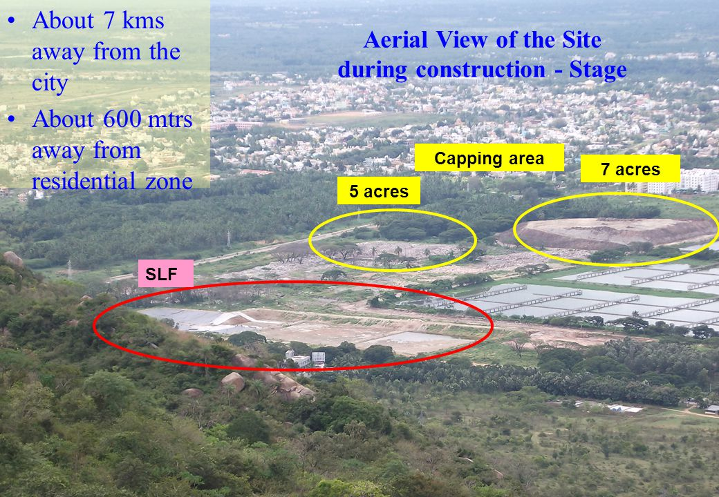 Aerial View of the Site during construction - Stage About 7 kms away from the city About 600 mtrs away from residential zone SLF 7 acres 5 acres Cappi