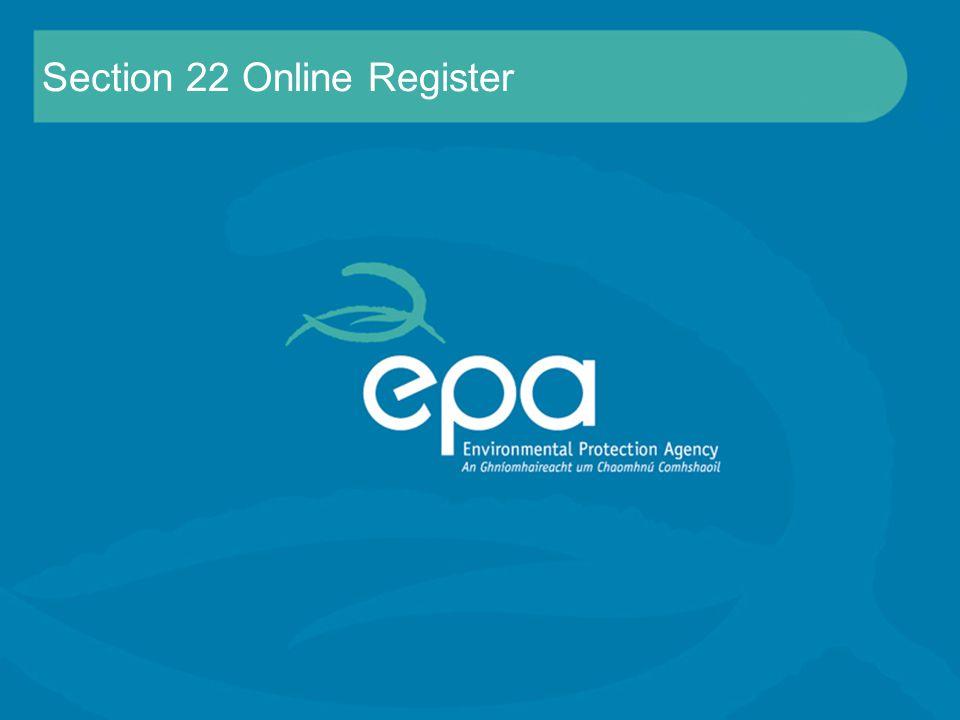 Section 22 Online Register