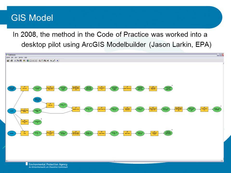 GIS Model In 2008, the method in the Code of Practice was worked into a desktop pilot using ArcGIS Modelbuilder (Jason Larkin, EPA)