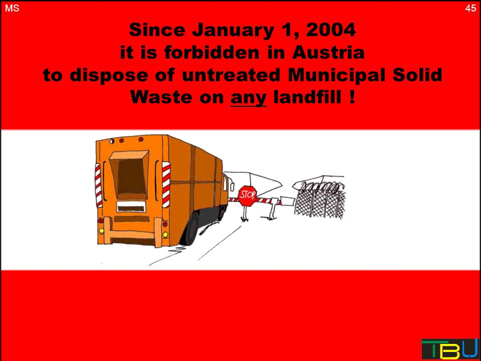 45 Since January 1, 2004 it is forbidden in Austria to dispose of untreated Municipal Solid Waste on any landfill .