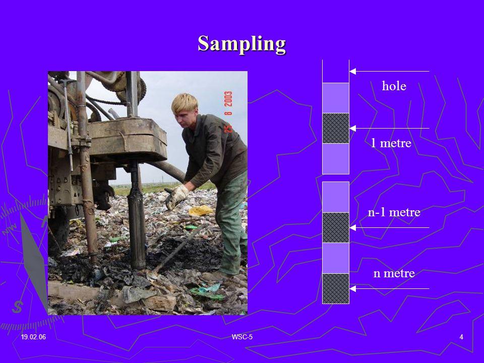 19.02.06WSC-54 Sampling hole 1 metre n metre n-1 metre
