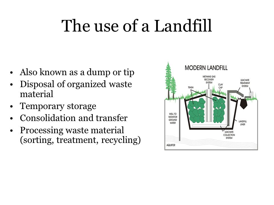 The use of a Landfill Also known as a dump or tip Disposal of organized waste material Temporary storage Consolidation and transfer Processing waste m