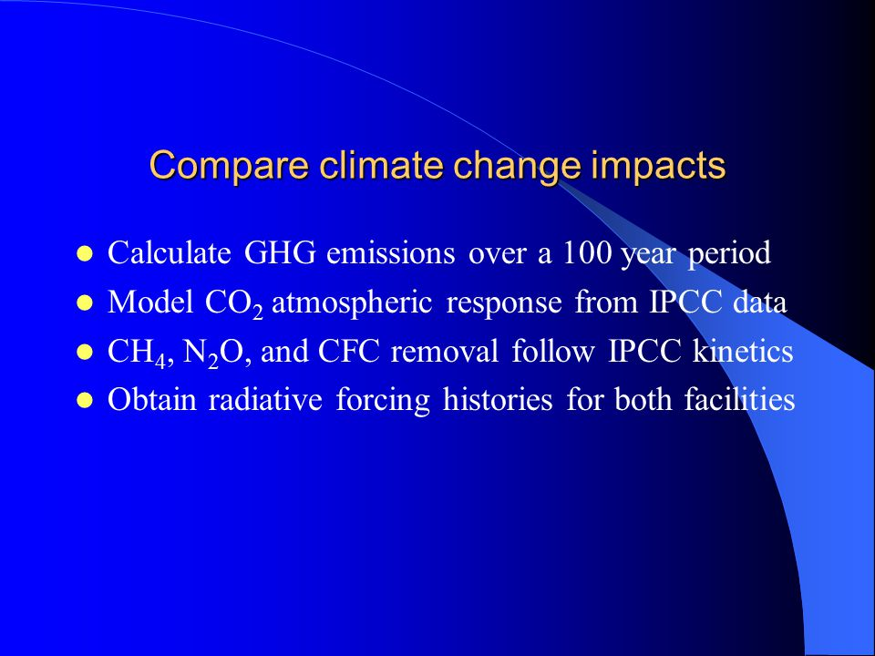 Compare climate change impacts Calculate GHG emissions over a 100 year period Model CO 2 atmospheric response from IPCC data CH 4, N 2 O, and CFC removal follow IPCC kinetics Obtain radiative forcing histories for both facilities