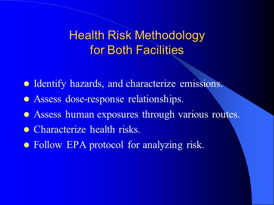 Health Risk Methodology for Both Facilities Identify hazards, and characterize emissions.