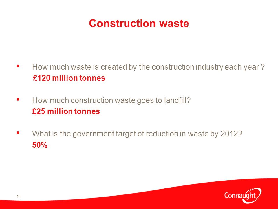 10 Construction waste How much waste is created by the construction industry each year .