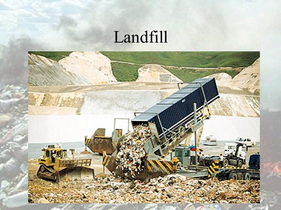 Methods of solid waste disposal Landfill Incineration Dumping at sea Recycling