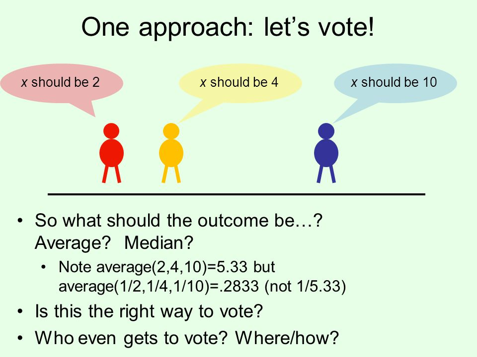 One approach: let's vote. So what should the outcome be….