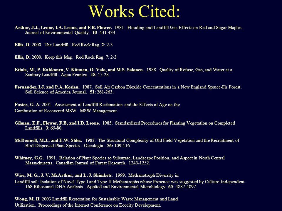 Works Cited: Arthur, J.J., Leone, I.A. Leone, and F.B.