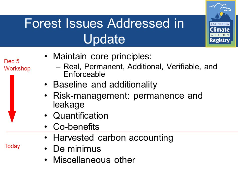 Forest Issues Addressed in Update Maintain core principles: –Real, Permanent, Additional, Verifiable, and Enforceable Baseline and additionality Risk-management: permanence and leakage Quantification Co-benefits Harvested carbon accounting De minimus Miscellaneous other Dec 5 Workshop Today