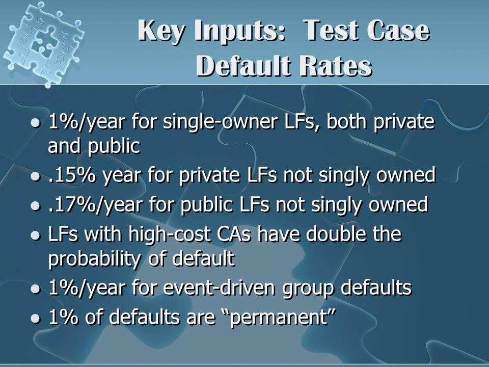 Key Inputs: Test Case Default Rates 1%/year for single-owner LFs, both private and public.15% year for private LFs not singly owned.17%/year for public LFs not singly owned LFs with high-cost CAs have double the probability of default 1%/year for event-driven group defaults 1% of defaults are permanent