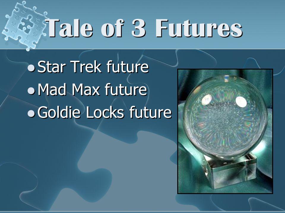 Tale of 3 Futures Star Trek future Mad Max future Goldie Locks future