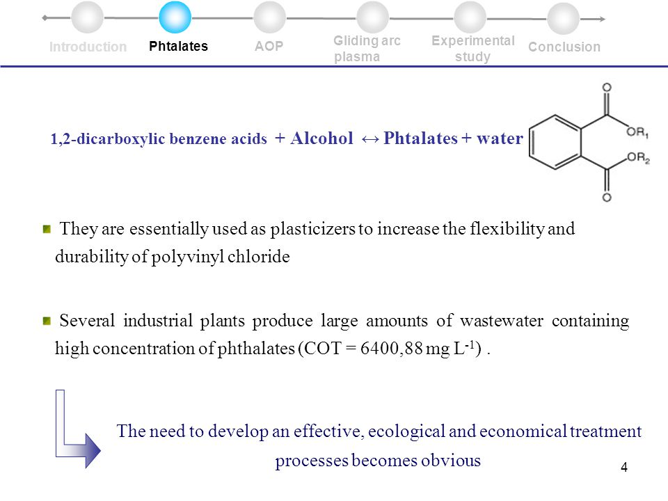 4 1,2-dicarboxylic benzene acids + Alcohol ↔ Phtalates + water They are essentially used as plasticizers to increase the flexibility and durability of polyvinyl chloride Several industrial plants produce large amounts of wastewater containing high concentration of phthalates (COT = 6400,88 mg L -1 ).