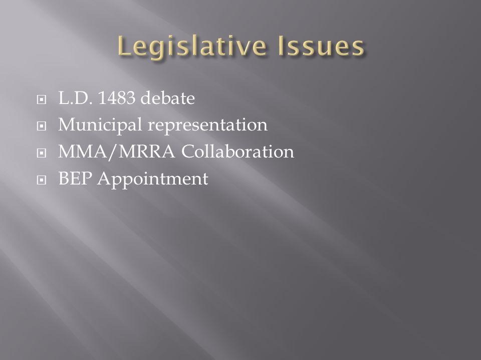  L.D. 1483 debate  Municipal representation  MMA/MRRA Collaboration  BEP Appointment