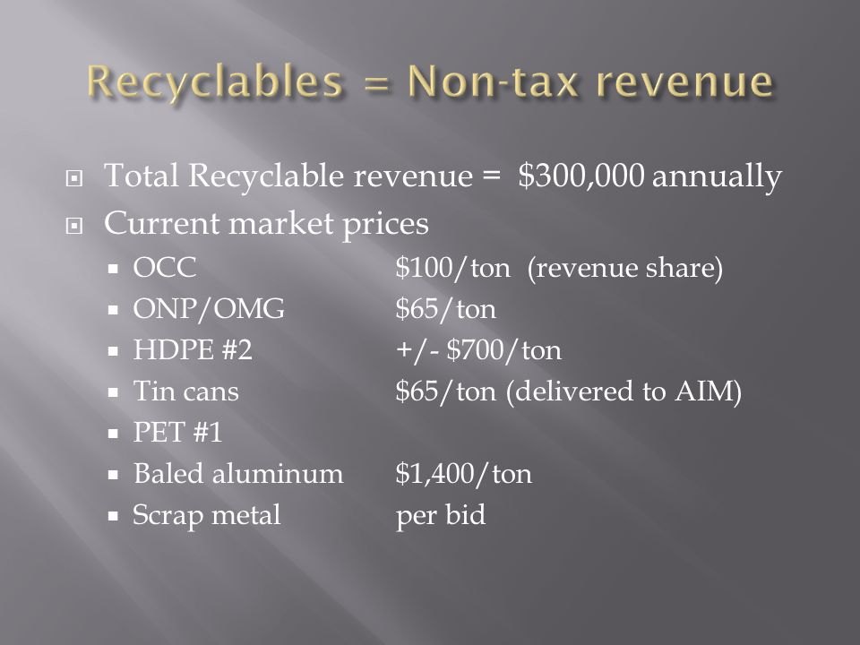  Total Recyclable revenue = $300,000 annually  Current market prices  OCC$100/ton (revenue share)  ONP/OMG$65/ton  HDPE #2+/- $700/ton  Tin cans$65/ton (delivered to AIM)  PET #1  Baled aluminum$1,400/ton  Scrap metalper bid