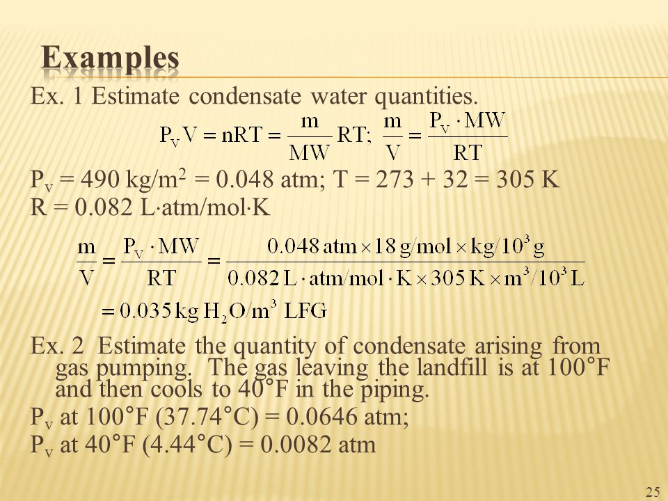 Ex. 1 Estimate condensate water quantities.