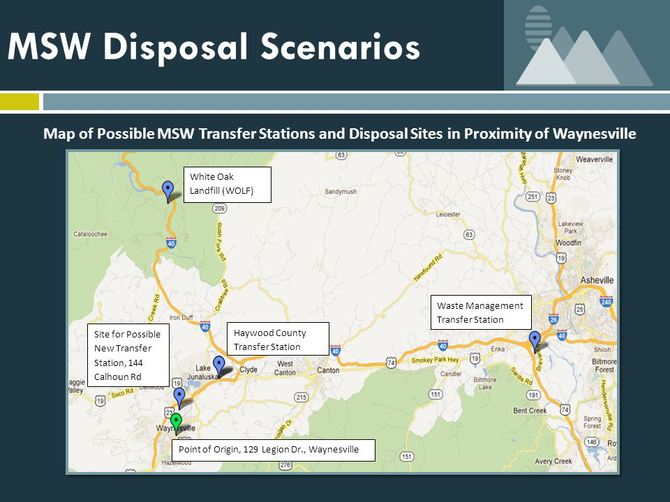 MSW Disposal Scenarios White Oak Landfill (WOLF) Haywood County Transfer Station Waste Management Transfer Station Site for Possible New Transfer Station, 144 Calhoun Rd Point of Origin, 129 Legion Dr., Waynesville Map of Possible MSW Transfer Stations and Disposal Sites in Proximity of Waynesville