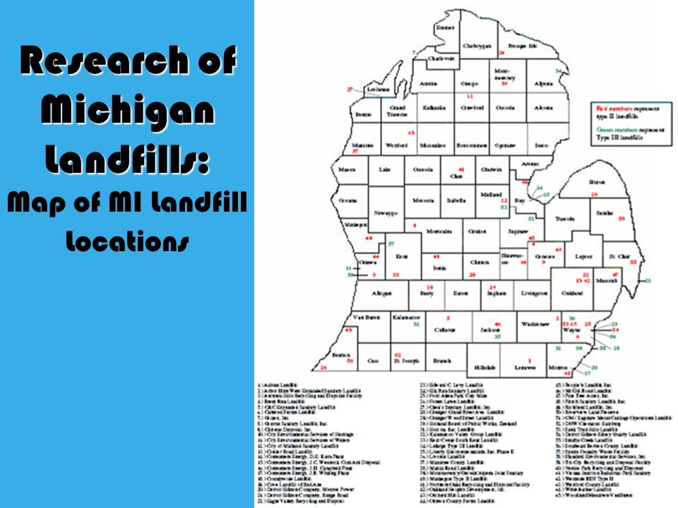 Research of Michigan Landfills: Research of Michigan Landfills: Map of MI Landfill Locations