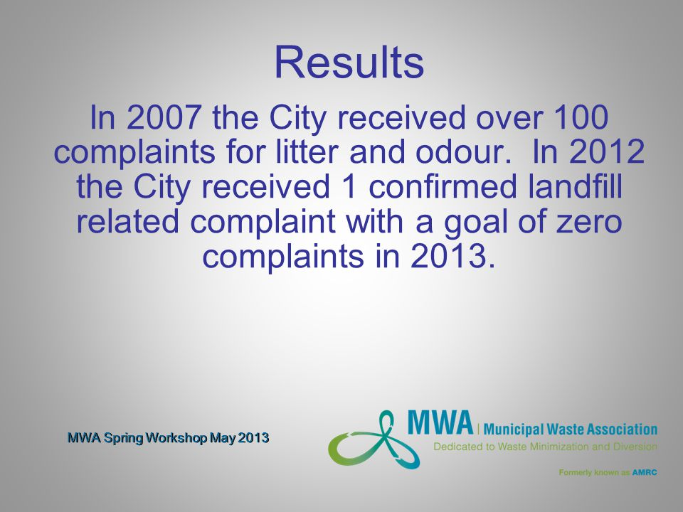MWA Spring Workshop May 2013 Results In 2007 the City received over 100 complaints for litter and odour.