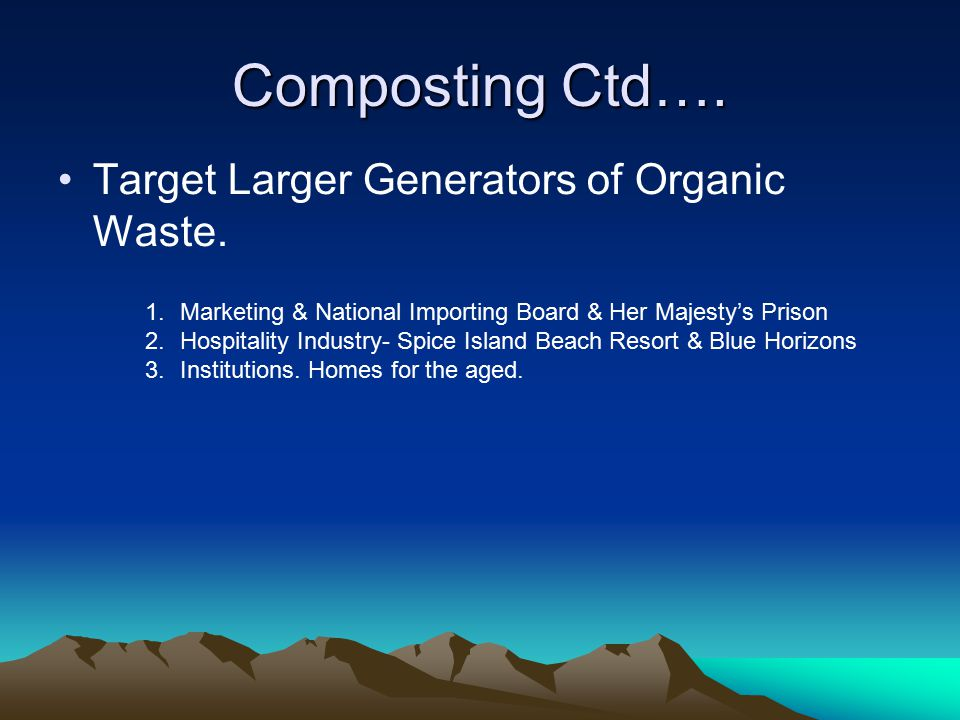 Composting Ctd…. Target Larger Generators of Organic Waste. 1.Marketing & National Importing Board & Her Majesty's Prison 2.Hospitality Industry- Spic