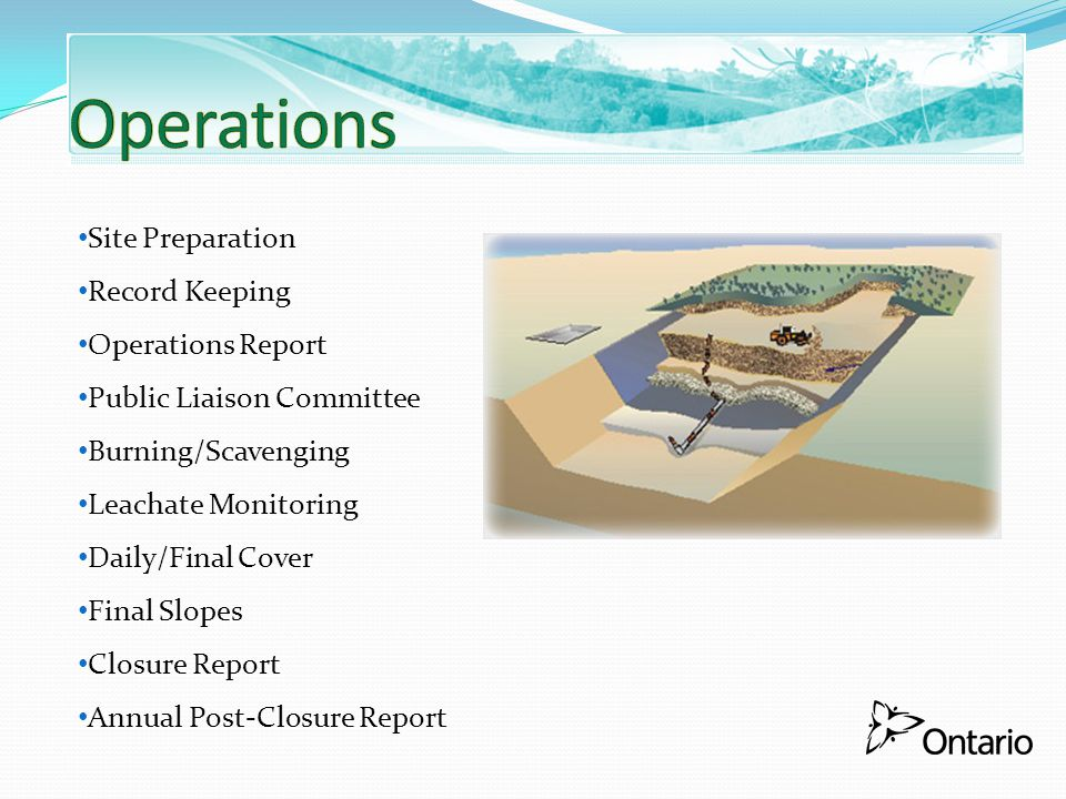Site Preparation Record Keeping Operations Report Public Liaison Committee Burning/Scavenging Leachate Monitoring Daily/Final Cover Final Slopes Closu