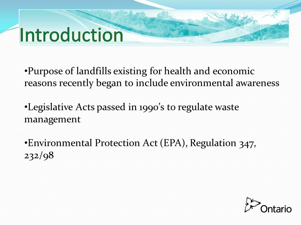 Distributes Certificate of Approval for alterations, establishment or expansion of landfill.