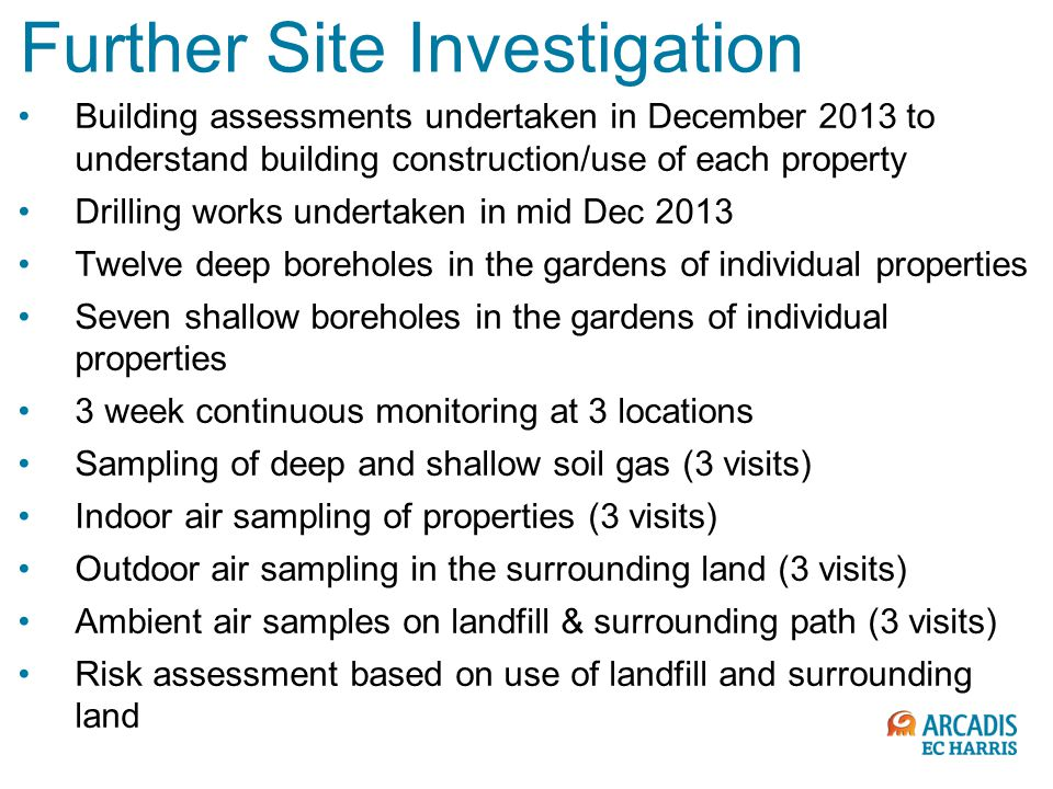 Natural Soils/Rock Landfill Low level detections of substances in ambient air Emissions to air Footpath around landfill
