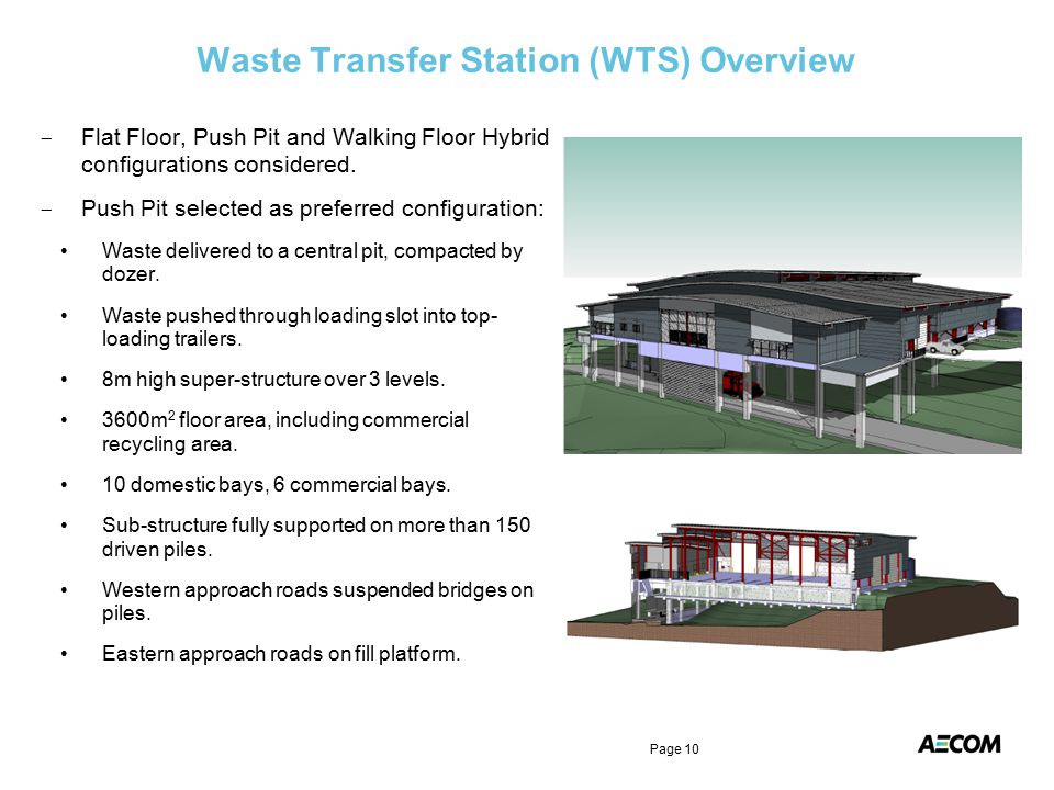 Waste Transfer Station (WTS) Overview - Flat Floor, Push Pit and Walking Floor Hybrid configurations considered. - Push Pit selected as preferred conf
