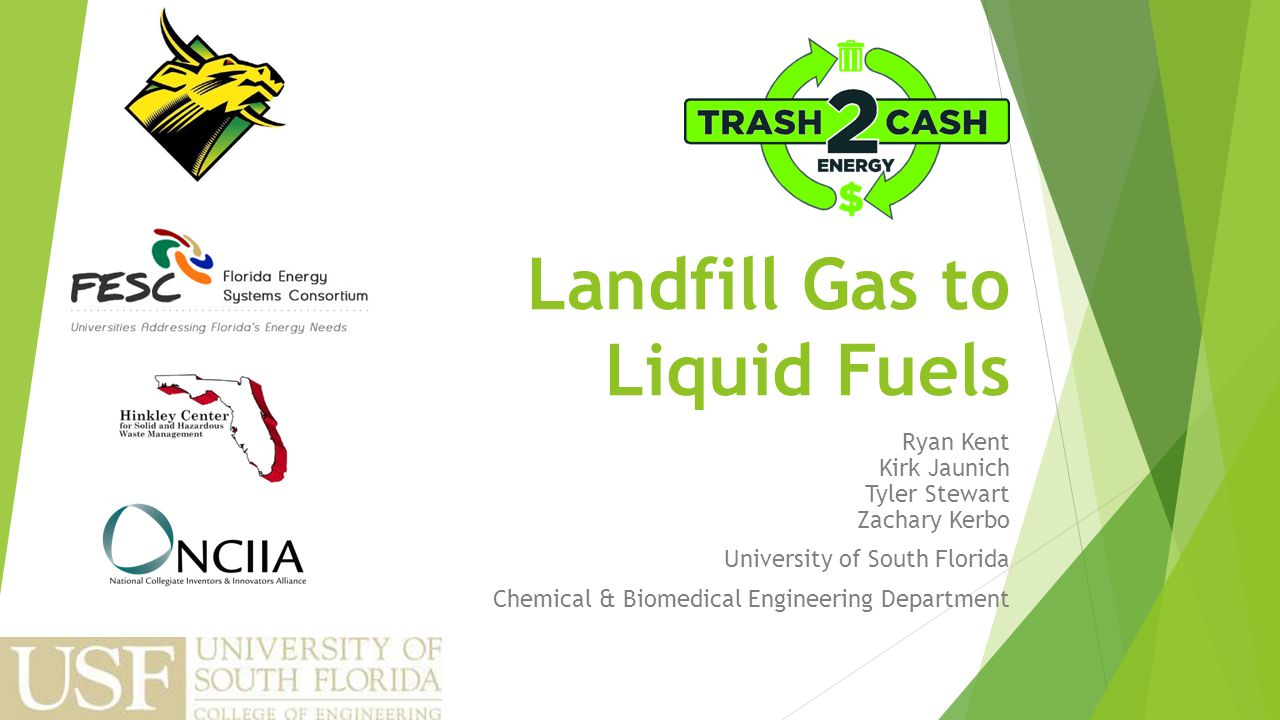 Landfill Gas to Liquid Fuels Ryan Kent Kirk Jaunich Tyler Stewart Zachary Kerbo University of South Florida Chemical & Biomedical Engineering Department
