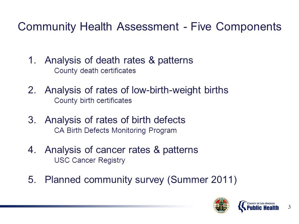 Community Health Assessment - Five Components 1.Analysis of death rates & patterns County death certificates 2.Analysis of rates of low-birth-weight births County birth certificates 3.Analysis of rates of birth defects CA Birth Defects Monitoring Program 4.Analysis of cancer rates & patterns USC Cancer Registry 5.Planned community survey (Summer 2011) 3