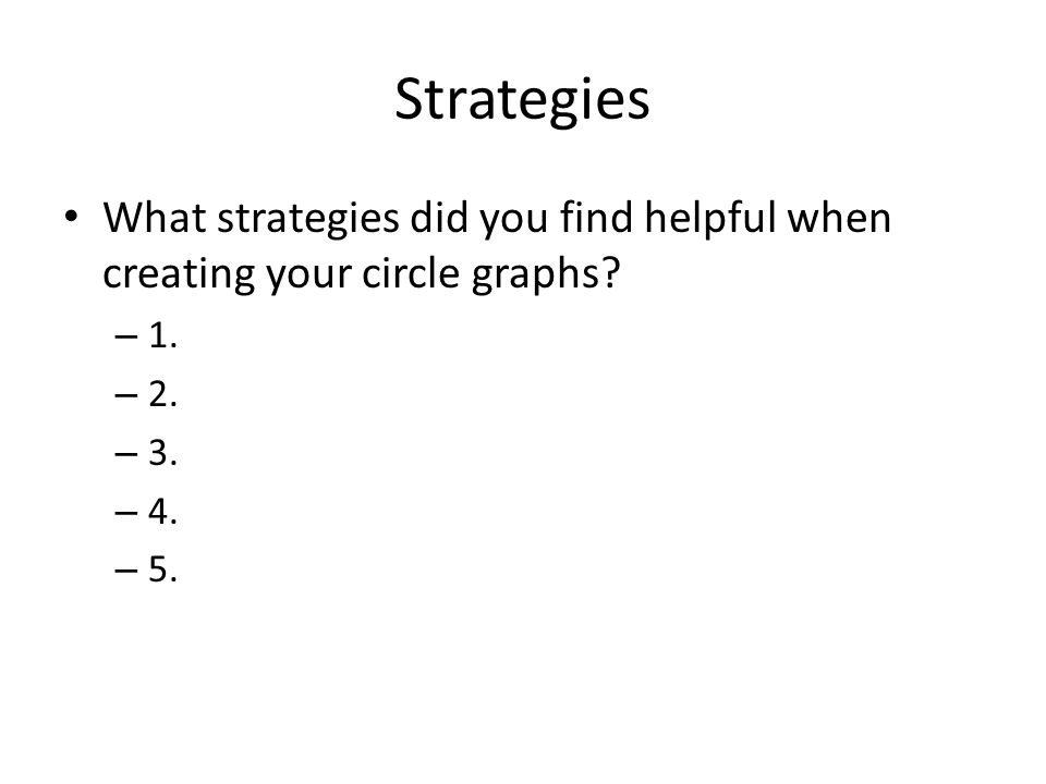 Strategies What strategies did you find helpful when creating your circle graphs.