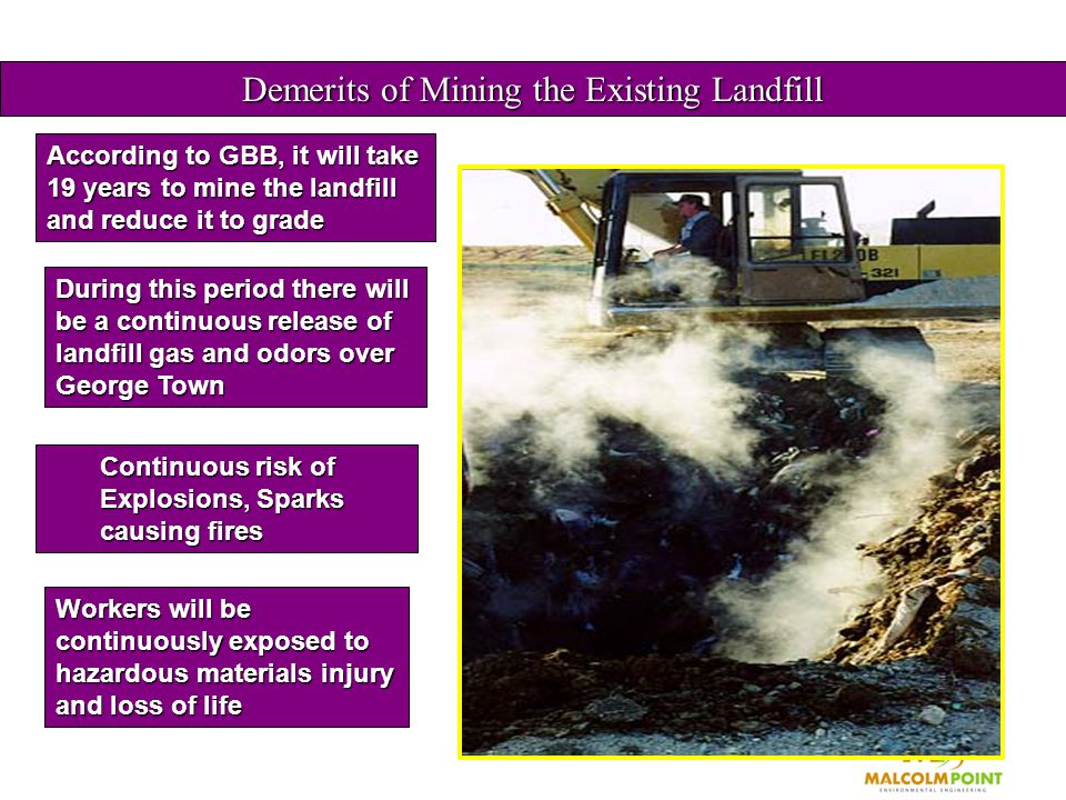 Demerits of Mining the Existing Landfill According to GBB, it will take 19 years to mine the landfill and reduce it to grade During this period there will be a continuous release of landfill gas and odors over George Town Continuous risk of Explosions, Sparks causing fires Workers will be continuously exposed to hazardous materials injury and loss of life