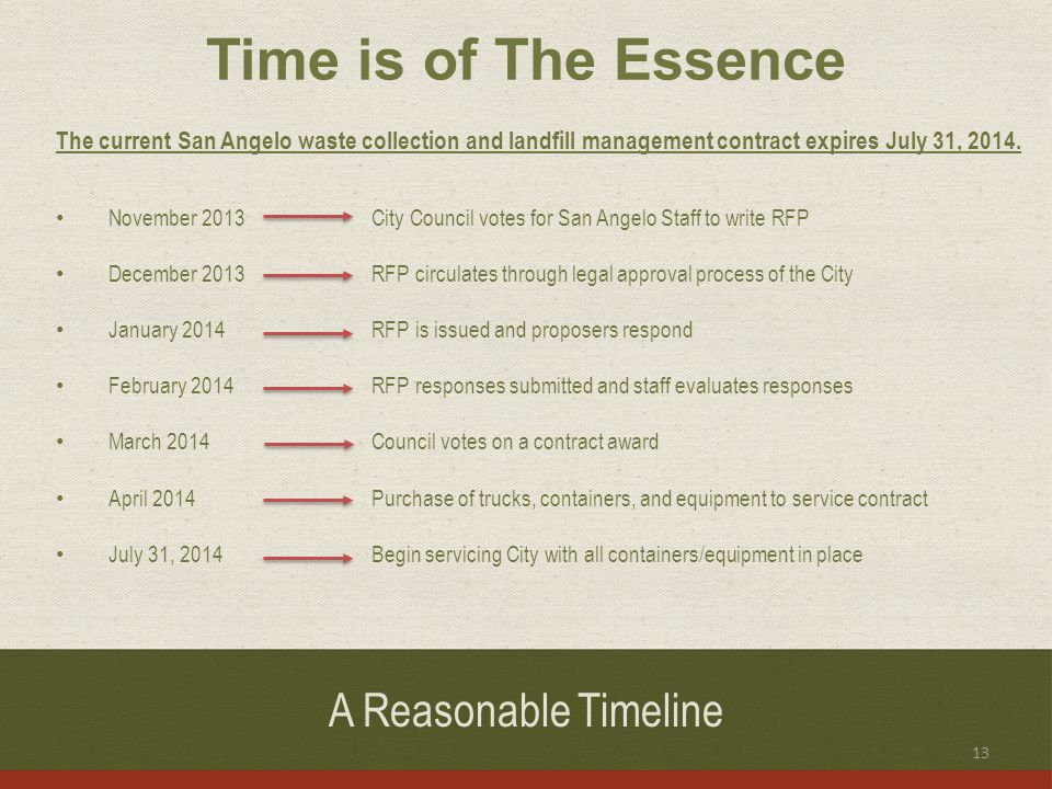 A Reasonable Timeline The current San Angelo waste collection and landfill management contract expires July 31, 2014.