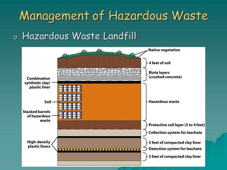 Management of Hazardous Waste o Hazardous Waste Landfill