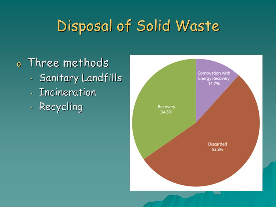 Disposal of Solid Waste o Three methods Sanitary Landfills Sanitary Landfills Incineration Incineration Recycling Recycling