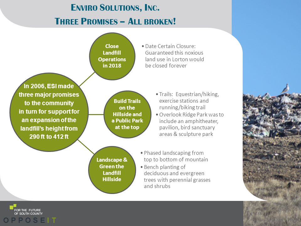 E NVIRO S OLUTIONS, I NC. T HREE P ROMISES – A LL BROKEN ! Close Landfill Operations in 2018 Date Certain Closure: Guaranteed this noxious land use in