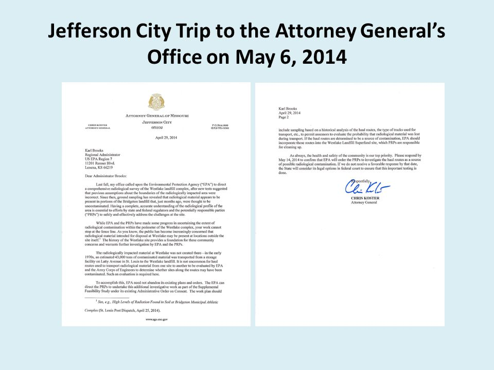 Jefferson City Trip to the Attorney General's Office on May 6, 2014