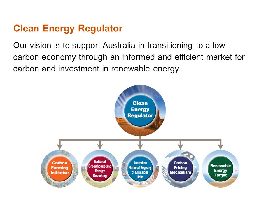 Clean Energy Regulator Our vision is to support Australia in transitioning to a low carbon economy through an informed and efficient market for carbon