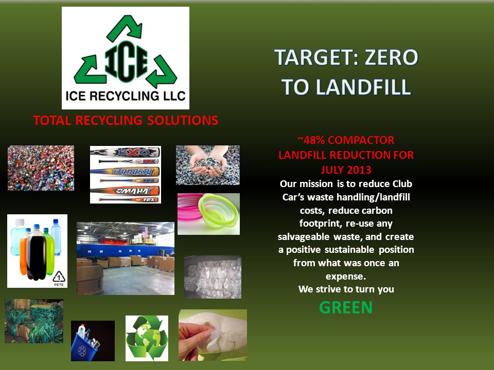 TOTAL RECYCLING SOLUTIONS ~48% COMPACTOR LANDFILL REDUCTION FOR JULY 2013 Our mission is to reduce Club Car's waste handling/landfill costs, reduce carbon footprint, re-use any salvageable waste, and create a positive sustainable position from what was once an expense.