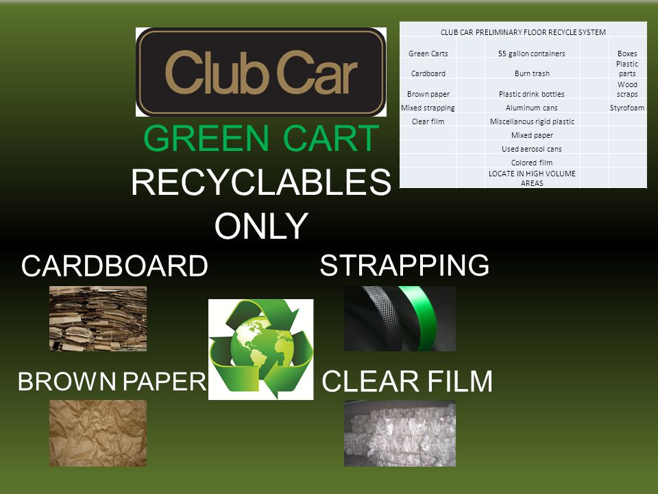 GREEN CART RECYCLABLES ONLY CARDBOARD STRAPPING BROWN PAPER CLEAR FILM CLUB CAR PRELIMINARY FLOOR RECYCLE SYSTEM Green Carts 55 gallon containers Boxes Cardboard Burn trash Plastic parts Brown paper Plastic drink bottles Wood scraps Mixed strapping Aluminum cans Styrofoam Clear film Miscellanous rigid plastic Mixed paper Used aerosol cans Colored film LOCATE IN HIGH VOLUME AREAS