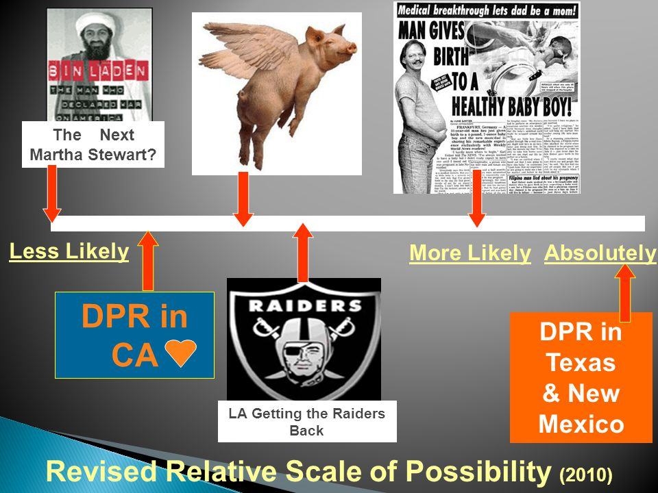Less Likely More Likely Revised Relative Scale of Possibility (2010) LA Getting the Raiders Back The Next Martha Stewart.
