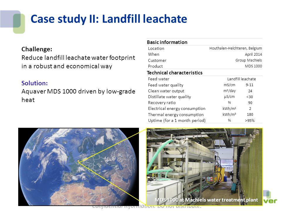Confidential information. Do not distribute. Case study II: Landfill leachate Basic information Location Houthalen-Helchteren, Belgium When April 2014