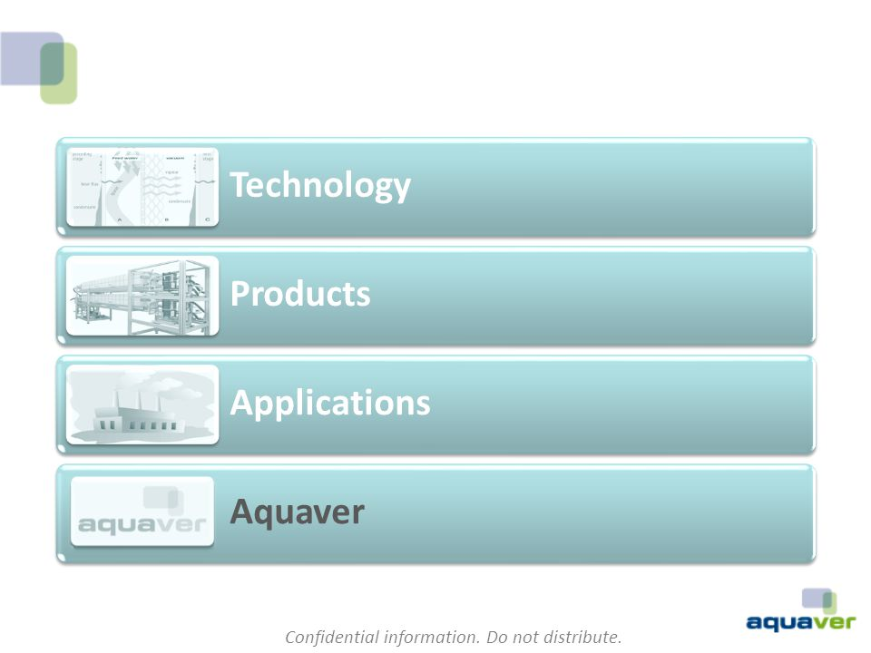Confidential information. Do not distribute. Technology Products Applications Aquaver