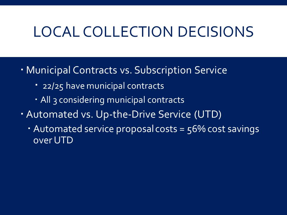 LOCAL COLLECTION DECISIONS  Municipal Contracts vs. Subscription Service  22/25 have municipal contracts  All 3 considering municipal contracts  A