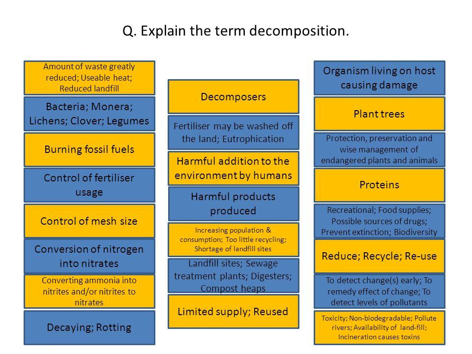 Q. Explain the term decomposition.