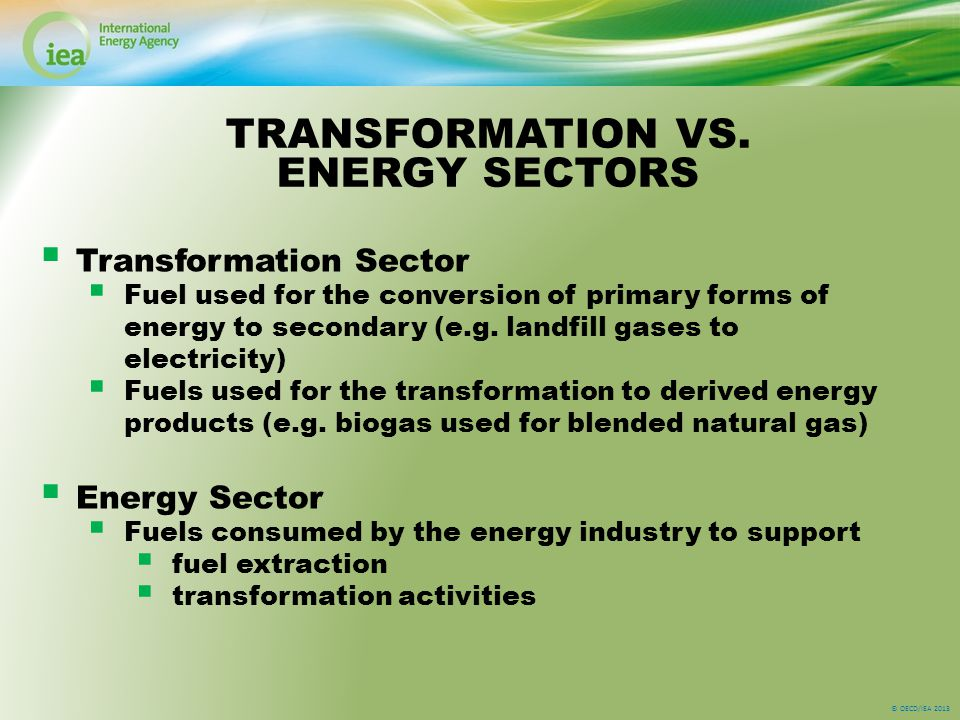 © OECD/IEA 2013  Transformation Sector  Fuel used for the conversion of primary forms of energy to secondary (e.g.