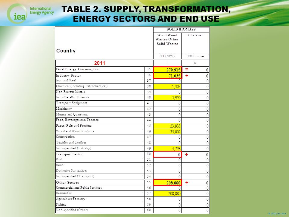 © OECD/IEA 2013 TABLE 2. SUPPLY, TRANSFORMATION, ENERGY SECTORS AND END USE =+=+ + +