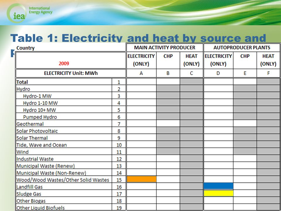 © OECD/IEA 2013 Table 1: Electricity and heat by source and plant